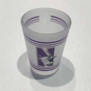 Northwestern Wildcats 1.5 oz. White Frosted Shot Glass with N-Cat Design