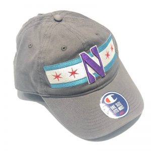 Northwestern University Wildcats Legacy Unconstructed Adjustable Light Grey Hat with Chicago Flag & Stylized N Design