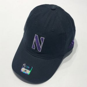 Northwestern University Wildcats Black Unconstructed Flexfit Adidas Hat With Stylized N Design
