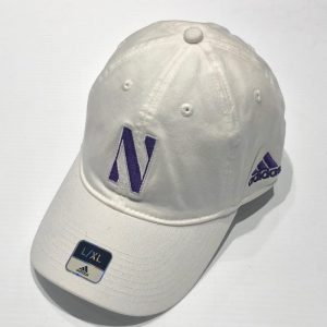 Northwestern University Wildcats White Unconstructed Flexfit Adidas Hat With Stylized N Design
