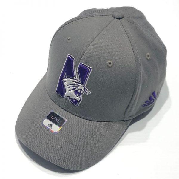 Northwestern University Wildcats Adidas Dark Grey Constructed Flexfit Hat with N-Cat Design