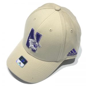 Northwestern University Wildcats Tan Constructed Flexfit Adidas Hat with N-Cat Design