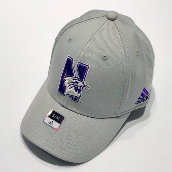 Northwestern University Wildcats Adidas Grey Constructed Flexfit Hat with N-Cat Design