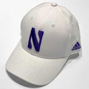 Northwestern University Wildcats White Constructed VelcroBack Adidas Hat with Stylized N Design