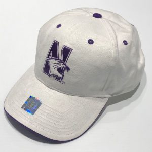 Northwestern University Wildcats White Constructed VelcroBack Suede Felt Hat With N-Cat Design