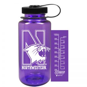 Northwestern University Wildcats 32 oz. Purple Tritan Wide Mouth Nalgene Water Bottle with N-Cat Design