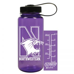 Northwestern University Wildcats 16 oz. Purple Tritan Wide Mouth Nalgene Bottle with N-Cat Design