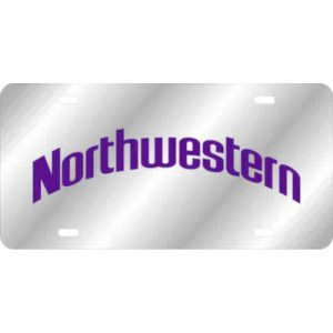 Northwestern Wildcats Thick Mirrored Acrylic License Plate with Purple Arched Northwestern Design