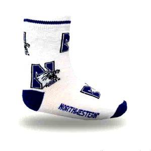Northwestern University Wildcats Kids White All-Over Print Flat Knit Crew Socks