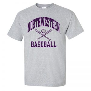 NW2498 Northwestern University Wildcats Grey Short Sleeve Tee Shirt with Baseball Design