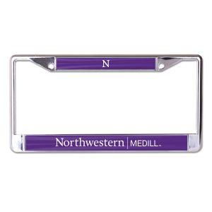 Northwestern University Wildcats Chrome License Plate Frame with Purple Laser Cut Northwestern/Medill Insert