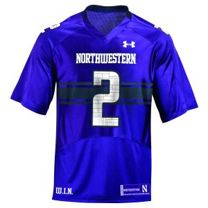 Northwestern University Wildcats Adult Under Armour Purple Replica Football Jersey with #2