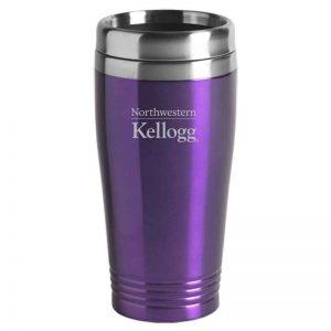 Northwestern University Wildcats Laser Engraved Purple 16oz Stainless-Steel Tumbler Mug with Kellogg Design
