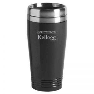Northwestern University Wildcats Laser Engraved Black 16oz Stainless-Steel Tumbler Mug with Kellogg Design