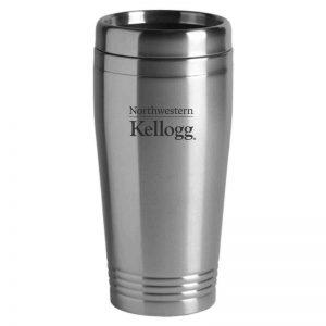 Northwestern University Wildcats Laser Engraved Silver 16oz Stainless-Steel Tumbler Mug with Kellogg Design