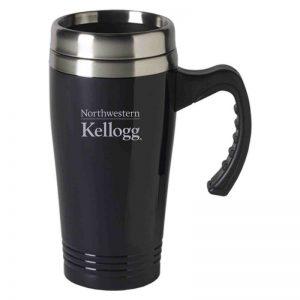 Northwestern University Wildcats Laser Engraved Black 16oz Stainless-Steel Tumbler Mug with Handle & Kellogg Design