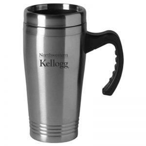 Northwestern University Wildcats Laser Engraved Silver 16oz Stainless-Steel Tumbler Mug with Handle & Kellogg Design