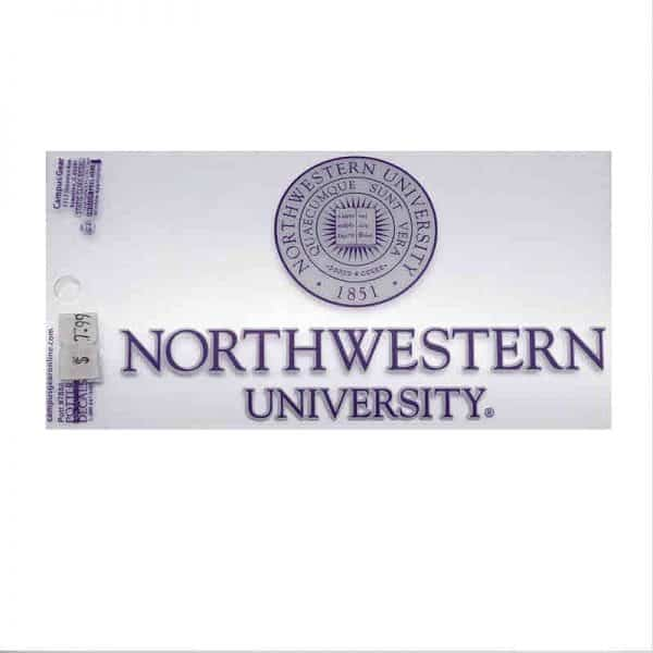 "Northwestern University Wildcats Static Cling Inside Application Decal with Seal Design 4""X6.5"""