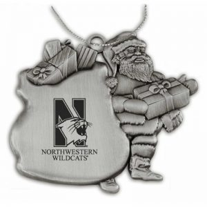 Northwestern University Wildcats Pewter Santa Ornament with Mascot Northwestern University Design