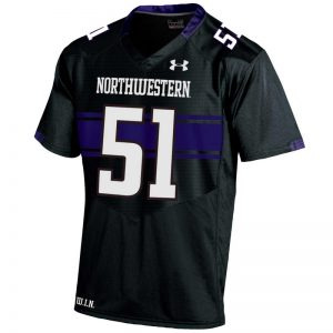 Northwestern University Wildcats Adult Under Armour Black Replica Football Jersey with #51-Front