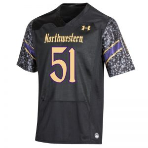 Northwestern University Wildcats Youth Under Armour Black Gothic Replica Football Jersey with #51-Front