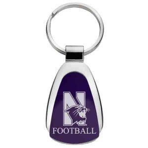 Northwestern University Wildcats Laser Engraved Purple Teardrop Key Chain with Mascot & Football Design