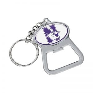 Northwestern Wildcats White Oval Bottle Opener Key Chain with N-Cat Design