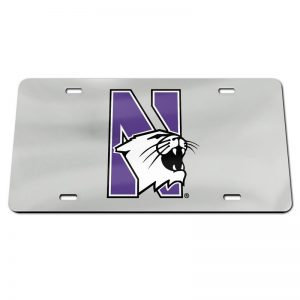 Northwestern Wildcats Thick Mirrored Acrylic License Plate with Multicolor N-Cat Design