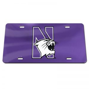 Northwestern Wildcats Thick Purple Mirrored Acrylic License Plate with N-Cat Design
