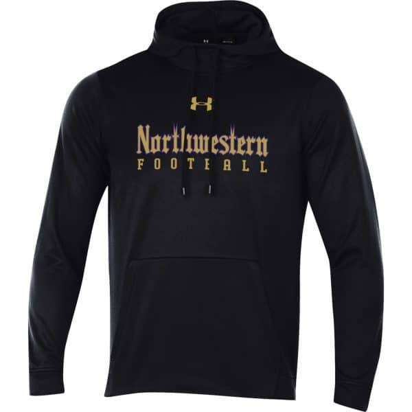 Northwestern University Wildcats Men's Under Armour Tactical Tech™ Black Hooded Sweatshirt with Northwestern Football Gothic Design