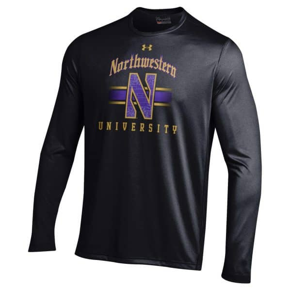 Northwestern University Wildcats Men's Under Armour Tactical Tech™ Black Long Sleeve T-Shirt with Gothic Design with Stylized N