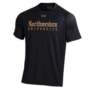 Northwestern University Wildcats Men's Under Armour Tactical Tech™ Black Short Sleeve T-Shirt with Northwestern University Gothic Design