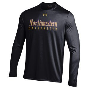 Northwestern University Wildcats Men's Under Armour Tactical Tech™ Black Long Sleeve T-Shirt with Northwestern University Gothic Design