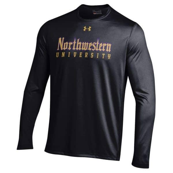 Northwestern University Wildcats Men's Under Armour Tactical Tech™ Black Long Sleeve T-Shirt with Northwestern University Gothic Design