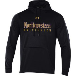 Northwestern University Wildcats Men's Under Armour Tactical Tech™ Black Hooded Sweatshirt with Northwestern University Gothic Design