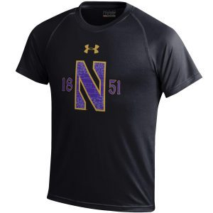 Northwestern University Wildcats Youth Under Armour Tactical Tech™ Black Short Sleeve T-Shirt with Stylized N Gothic Design