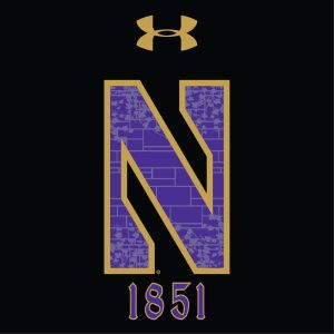 Northwestern University Wildcats Men's Under Armour Tactical Tech™ Black Hooded Sweatshirt with Stylized N Gothic Design