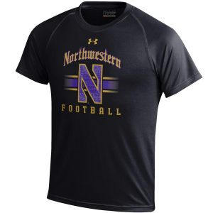 Northwestern University Wildcats Men's Under Armour Tactical Tech™ Black Short Sleeve T-Shirt with Northwestern Football & Stylized N Gothic Design