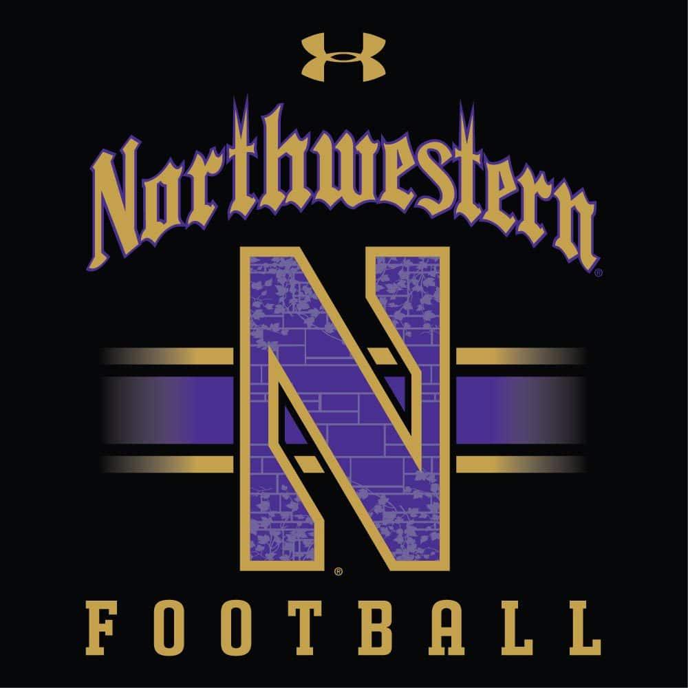 Northwestern Wildcats Men s Under Armour Tactical Tech™ Black Hooded  Sweatshirt with Northwestern Football   Stylized N Gothic Design 543b7a316ec1