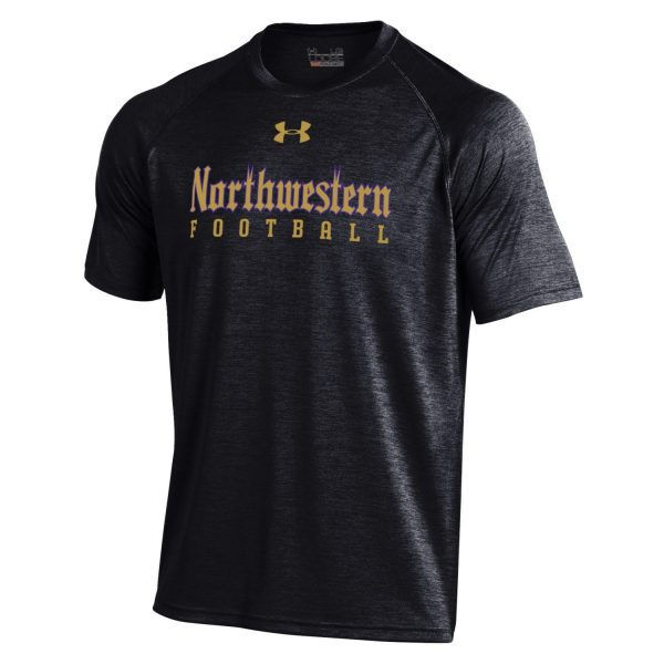 Northwestern University Wildcats Youth Under Armour Tactical Tech™ Black Short Sleeve T-Shirt with Northwestern Football Gothic Design