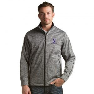 Northwestern University Wildcats Men's Antigua Golf Jacket in Black Heather