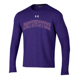 Northwestern University Wildcats Men's Under Threadborne Ridge Purple Crewneck Sweatshirt with Arch Northwestern Design