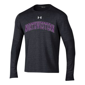 Northwestern University Wildcats Men's Under Threadborne Ridge Black Crewneck Sweatshirt with Arch Northwestern Design