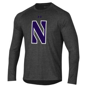 Northwestern University Wildcats Youth Under Armour Tactical Tech™ Dark Grey Long Sleeve T-Shirt with Stylized Northwestern N Design