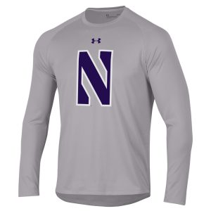 Northwestern University Wildcats Youth Under Armour Tactical Tech™ Light Grey Long Sleeve T-Shirt with Stylized Northwestern N Design