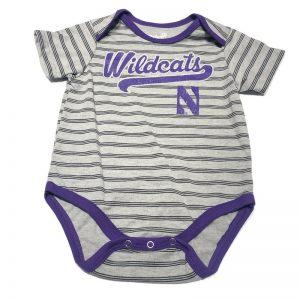 Northwestern University Wildcats Grey Striped Onesie with Script Wildcats & N Design