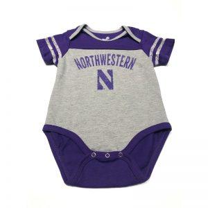 Northwestern University Wildcats Onesie with Purple Shoulders and Back & Arch Northwestern Over N Design