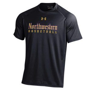 Northwestern University Wildcats Men's Under Armour Tactical Tech™ Black Short Sleeve T-Shirt with Northwestern Basketball Gothic Design