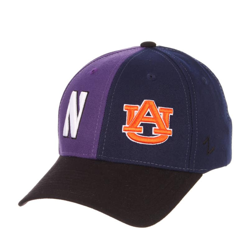 Northwestern University Wildcats House Divided Hat with Auburn Tigers