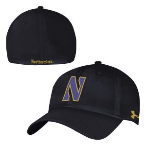 a4fd7231 Northwestern University Wildcats Under Armour Renegade Flexfit Black Hat  with Stylized Gothic Collection N Design